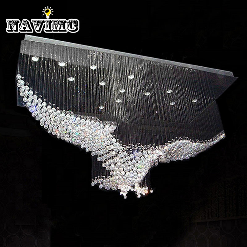 New Eagles Design Luxury Modern Crystal Chandelier Lighting Lustre Hall LED Lights Cristal Lamp L100*W55*H80cm 110v-220v luxury design modern crystal chandelier led lamp ac110v 220v lustre cristal foyer chandelier lighting