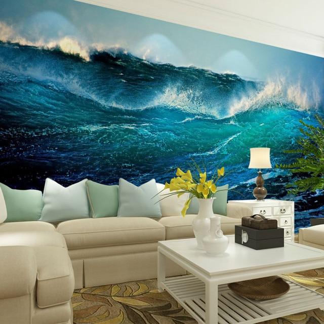 beibehang blue ocean waves home decor papel de parede 3d wallpaper for living room 3d room - 3d Home Decor