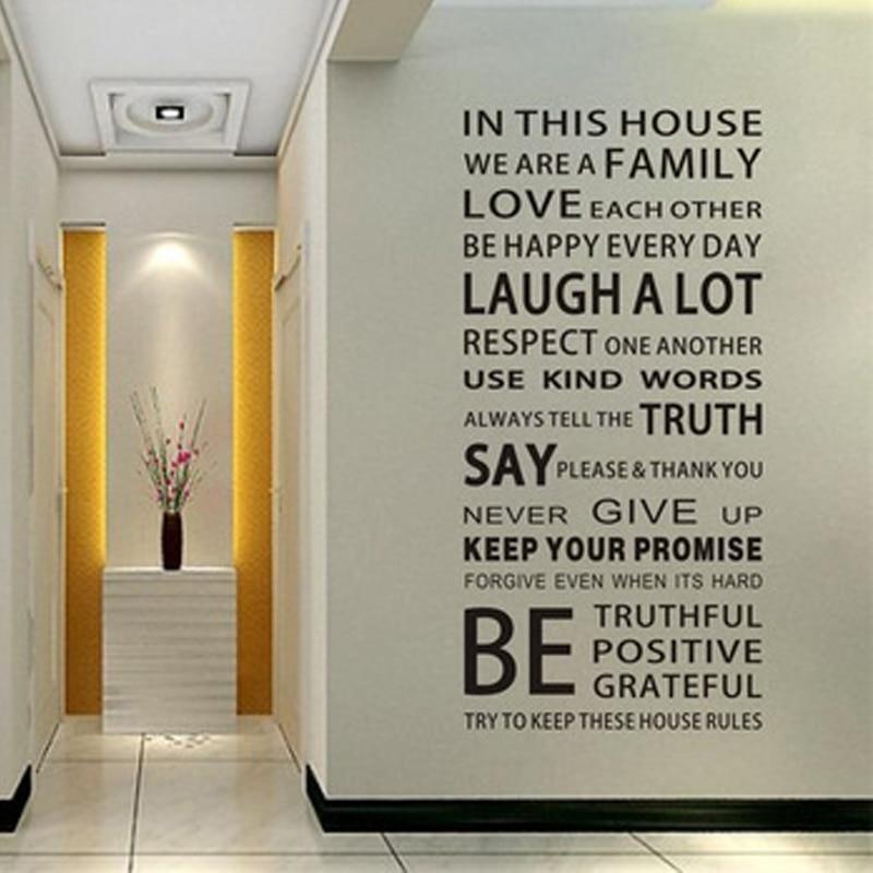 Palabras inglesas In This House DIY Pegatinas De Pared adorno De vinilo cristal