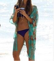 Women Spain Style Long Chiffon Blouse Kimono Cardigan Shirts Loose Tassel Regular Floral Printed Open