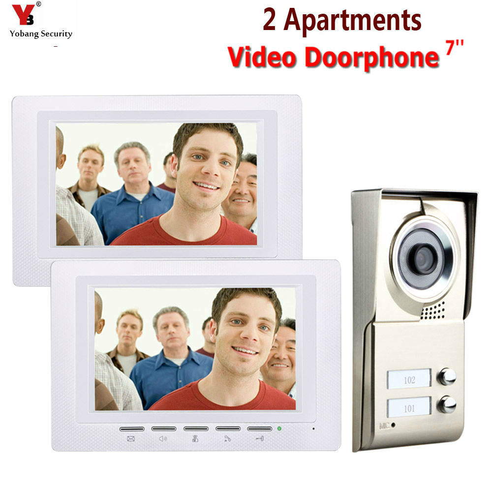 7inch LCD 2 Apartments Video Door Phone Intercom System IR CUT HD 1000TVL Camera Doorbell Camera