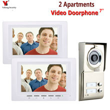 7inch LCD 2 Apartments Video Door Phone Intercom System IR-CUT HD 1000TVL Camera Doorbell Camera with 2 button 2 Monitor(China)