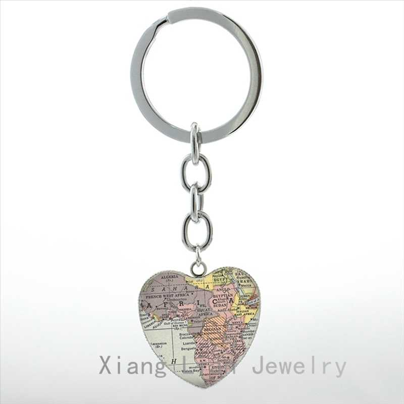 אופנה אפריקה מפת תליון לב מפתח שרשרות טבעת בית העיר אהבה אפריקאי תכשיטי בציר אפריקה נסיעות מפת עולם keychain HP175