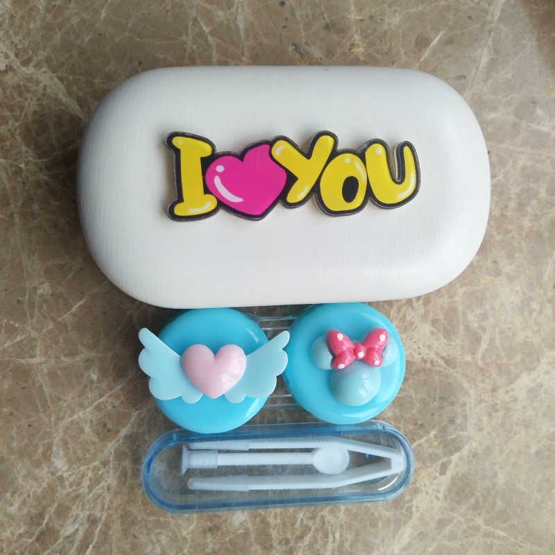 LIUSVENTINA DIY Resin Cute Flying Love Bowknot I Love U Hand-made Contact Lens Case Box Container for Color Lenses Gift for Girl