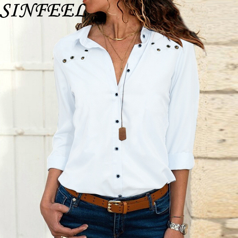 SINFEEL White Blouse Women Chiffon Office Career Shirts Tops 2019 Fashion Casual OL Long Sleeve Blouses Femme Blusa Plus Size