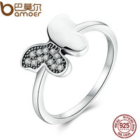 BAMOER Genuine 100 925 Sterling Silver Dancing Butterfly Clear CZ Finger Ring For Women Wedding Jewelry