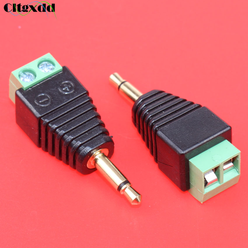 cltgxdd Video AV Balun 3.5mm 2pole Mono male to AV Screw Terminal Mono jack 3.5 mm male 2 pin Terminal Block Plug connector
