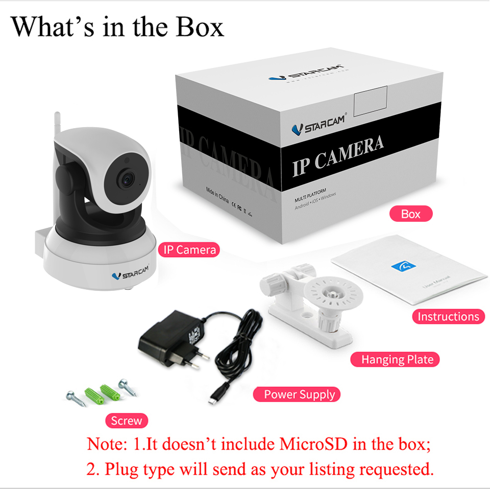 Vstarcam C7824WIP Free Shipping Onvif 2.0 720P IP Camera Wireless Wifi CCTV IP Camera With Eye4 APP Indoor Pan