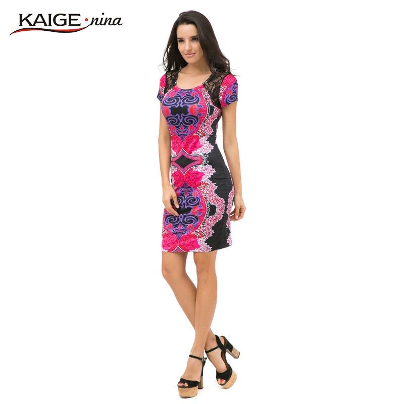 Kaige.Nina Efterår Sexy O-Neck Lace Kjole Kvinder Vestidos Casual - Dametøj - Foto 3