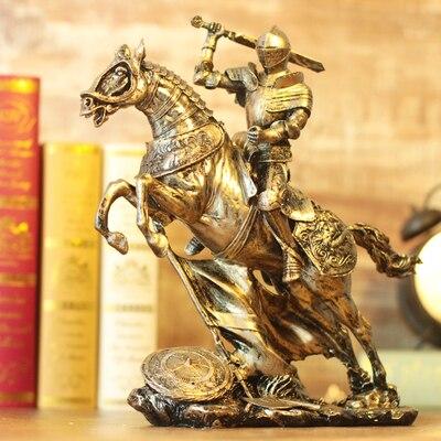 Armure samouraï médiévale modèle rétro Rome armure guerriers artisanat créatif ornements chevalier cheval statue rétro décoration