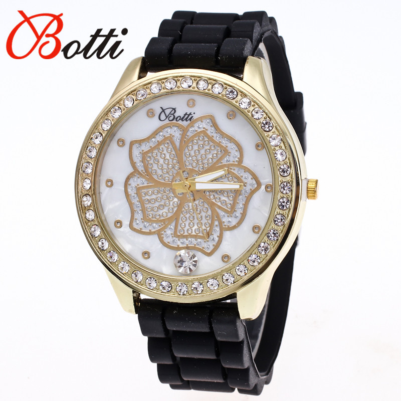 New Fashion Ybotti Luxury Brand Trendy Casual Quartz Watch Women Dress Peony Crystal Silicone Watches Relogio