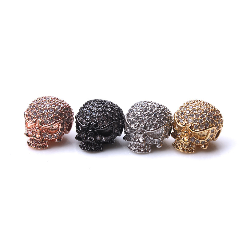 1pc 13*11mm Micro Pave Cubic Zircon Skull Skeleton Bracelet Spacer Beads Gold Silver Black Copper Pendant Jewelry Components