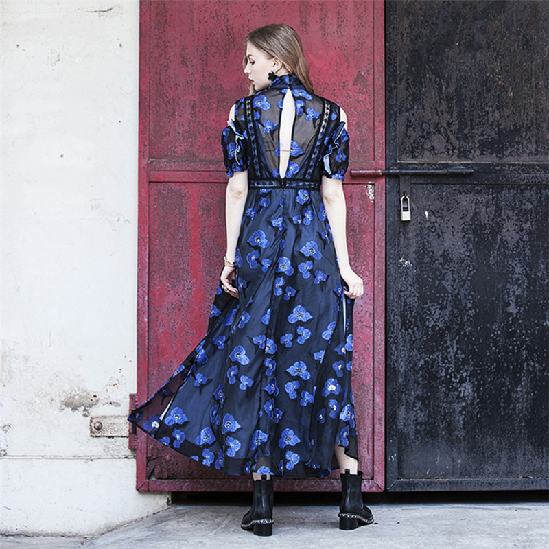 90f3848fd78d1 2018 Retro Floral Frill Maxi Dress Women Autumn Open Back Cold Shoulder  Dresses Embroidery Party Dress Vestidos Mujer QWC0330 45-in Dresses from  Women's ...