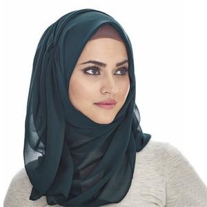 Image 2 - Foulard Hijab en mousseline de soie pour femmes, foulard châle en soie unie, couvre tête, foulard pour la tête, couvre tête, foulard 2019
