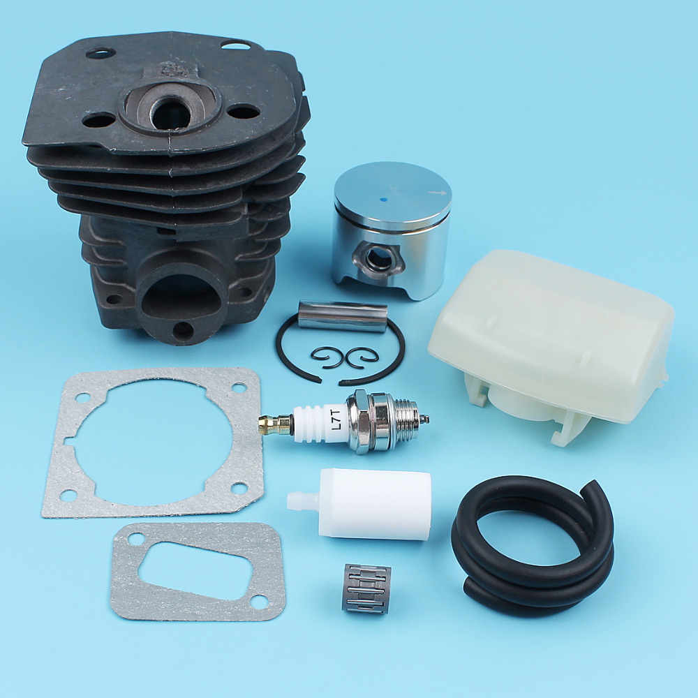 Cylinder Piston (44mm) Air Fuel Filter Line Kit For Husqvarna 350 351 353 346 XP Chainsaw Muffler Gasket Bearing NIKASIL PLATED