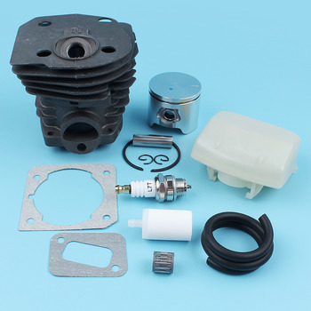 Cylinder Piston (44mm) Air Fuel Filter Line Kit For Husqvarna 350 351 353 346 XP Chainsaw Muffler Gasket Bearing NIKASIL PLATED 44 7mm cylinder piston ring sets air fuel line filter for stihl 026 ms260 026 pro 1121 020 1217