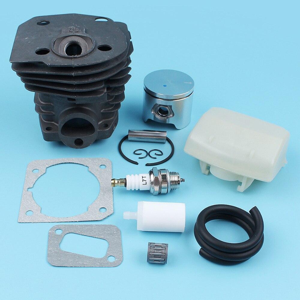Pistão do cilindro (44mm) Kit Linha de Combustível Filtro De ar Para Motosserra Husqvarna 350 351 353 346 XP Junta Silenciador Rolamento NIKASIL CHAPEADO