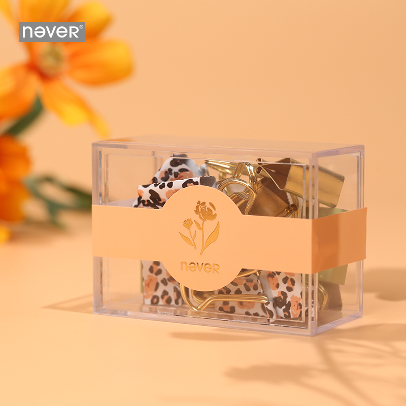 Never Leopard Flower Series Binder Clip Ins Cute Gold Colored Paper Clips Decorative Accessories Office Supplies Gift Stationery