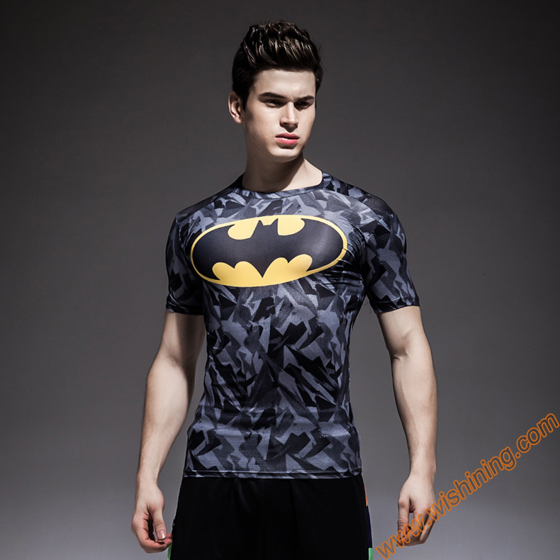 Compression Shirt  batman T-shirts Marvel  Superhero clothing black bodybuilding tshirts for Mens