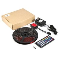 ICOCO 300LED 5m Flexible SMD 5050 RGB Waterproof LED Light Strip Bar with 44 Key Controller for TV Backlight PC Decoration