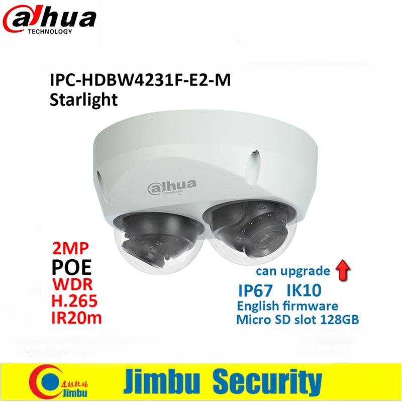Dahua IP Camera 2x 2MP starlight IPC-HDBW4231F-E2-M POE H.265&H.264 IR20m IK10 IP67 Micro SD memory 128G Smart Detection dahua 2mp covert supper mini ip camera ipc hum8230 h 265 poe with unit l1 and l3 micro sd memory without dahua logo