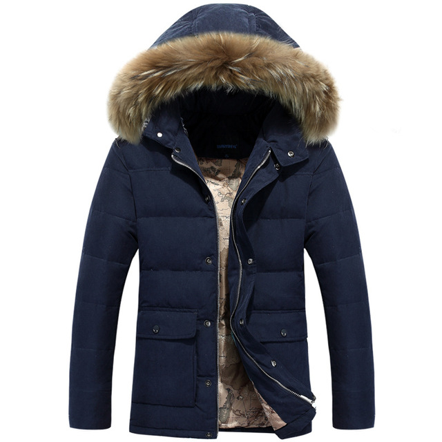 Men'S Winter Nagymaros Collar Down Coat Fashion Men Casual Hooded Thick Warm Padded Down Jacket 901