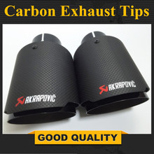 2Pcs Carbon Fiber Coated Stainless Steel Universal Car Exhaust Pipe Tip Tailtip 89mm / 63mm Akrapovic Car Exhaust gloss Black
