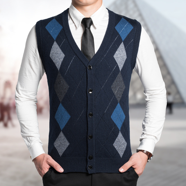 New Arrival 2016 Autumn Winter Mens Argyle Buttoned Wool Sweater ...