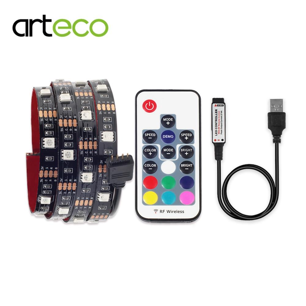USB LED Faixa RGB 5050 com RGB Controlador de 1 Metro IP65 IP20 TV Iluminação de Fundo LEVOU faixa 5050 RGB DC 5 V