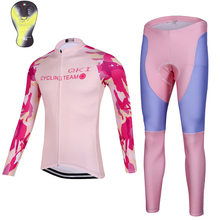 2017 QKI Pink Camo Women Cycling clothing Thermal fleece Long Sleeves Cycling Jersey and Cycling Long Pants a Set Maillot+Culote