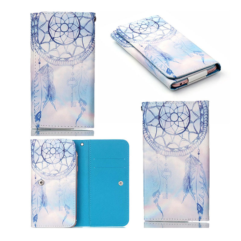 Pintura hermosa cartera de cuero bolsa de accesorios del teléfono celular univer