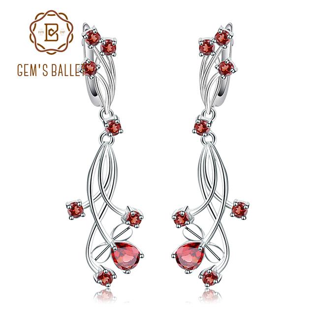 GEM'S BALLET 4.04ct Natural Red Garnet Bridal Drop Earrings For Women 925 Sterling Silver Gemstone Earrings Wedding Jewelry