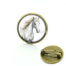 White horse art picture glass cabochon dome medal Legendary beasts Unicorns brooch jewelry best gift to best friends C 680(China)