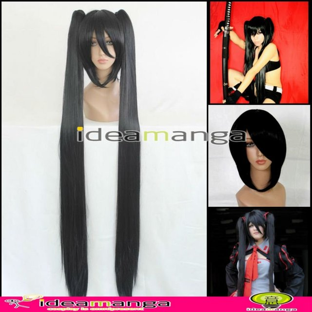 Amime V+ Vocaloid BLACK ROCK SHOOTER Zatsune Miku Cosplay Wig hair High-temperature Resistance Fibers halloween With2 Ponytails
