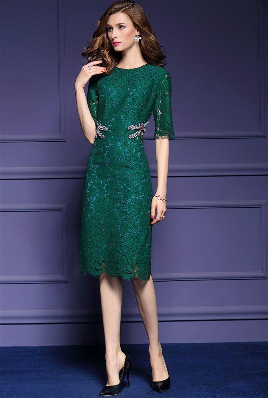luxury 2017 spring new women dress green sexy lace dress handmade