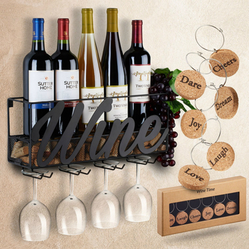 Wall Mounted Wine Rack Bottle Glass Holder Cork Storage Store Red, White, 42X10X21CM Home Kitchen Storage Rack