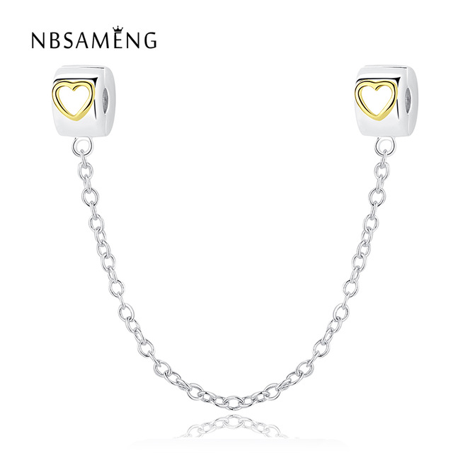 Authentic 925 Sterling Silver Bead Charm Gold Love Heart Safety Chain Stopper Beads Fit Pandora Bracelet & Bangle Jewelry SS2872