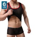 Tight Men's Undershirts Sexy Mesh Mens Striped Underwear Nylon Men Shirt Vest  Male Sheer Shirt Man Transparent New Brand
