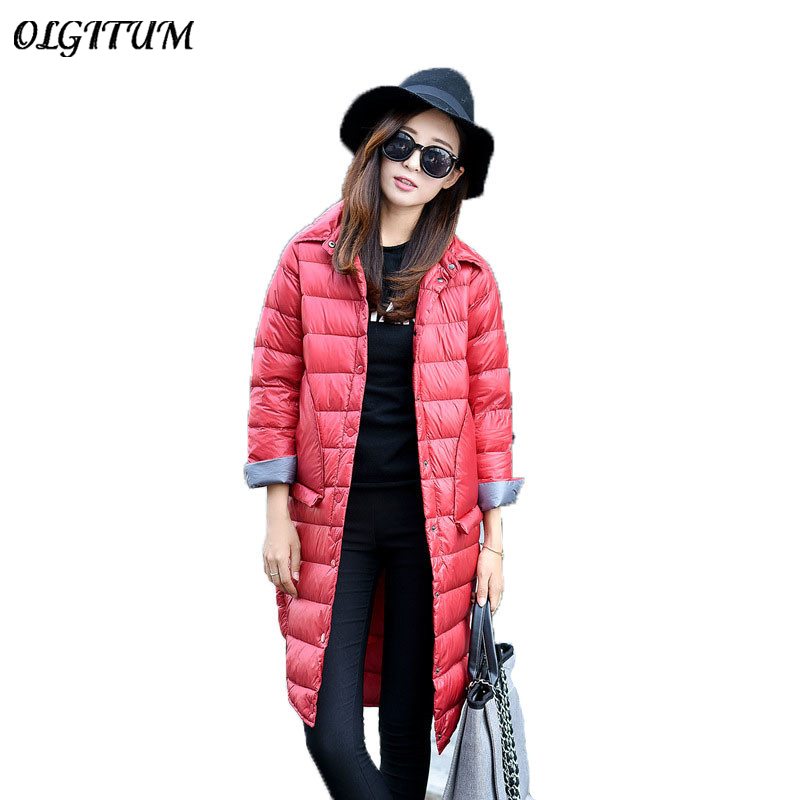 OLGITUM Winter Warm Coat 2017Women Long Coat Long Sleeve White Duck Down Parka Coat solid color Outwear Casual Jacket Coats S-XL olgitum new autumn winter jacket coat women parka woman clothes solid long jacket slim women s winter jackets and coats cc107
