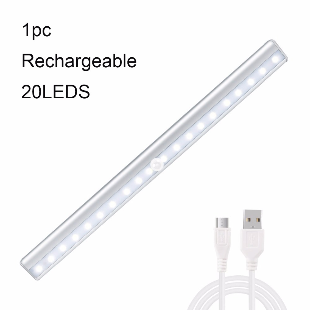 10 LED Motion Sensor IR Night Light Wireless Bar Closet USB Rechargeable Lamp US