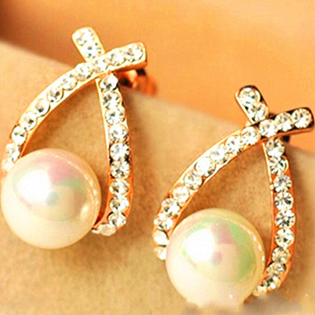 Fashion Lovely Peach Pearl Imitation Stud Earrings Jewelry Whole Free Shipping Crown For Women