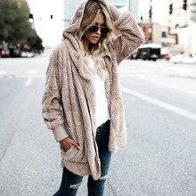 S-3XL piel sintética oso de peluche abrigo chaqueta mujer moda abierta  puntada invierno abrigo con capucha mujer manga larga cha. cc13c1a6b712