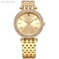 TAYLOR COLE Luxury Brand Relogio Feminino Rhinestone Case Gold Full Steel Women Dress Watches Lady Bracelet