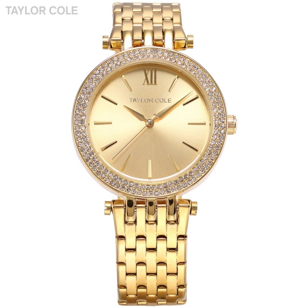TAYLOR COLE Luxury Brand Relogio Feminino Rhinestone Case Gold Steel Women Dress Watches Relogio Feminino Quartz Watch / TC001