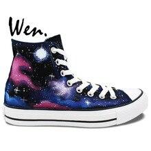 Wen Original Sneakers Hand Painted Design Custom Sneakers Space Starlight Galaxy Blue Cloud Men Women's High Top Canvas Sneakers