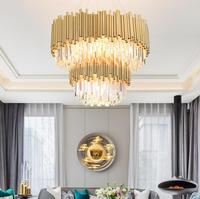 Postmodern light luxury chandelier simple creative bedroom living room crystal lamp stainless steel personality Nordic