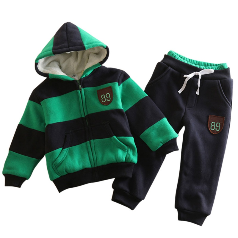 2 PCS/Set Autumn Winter Baby Warm Hoodies+ Solid Pants Children Set Casual Suit Large Pocket Leisure Sets Baby Boy Clothing children s sets 2015 autumn and winter leisure fleece suit boy s jacket and pants