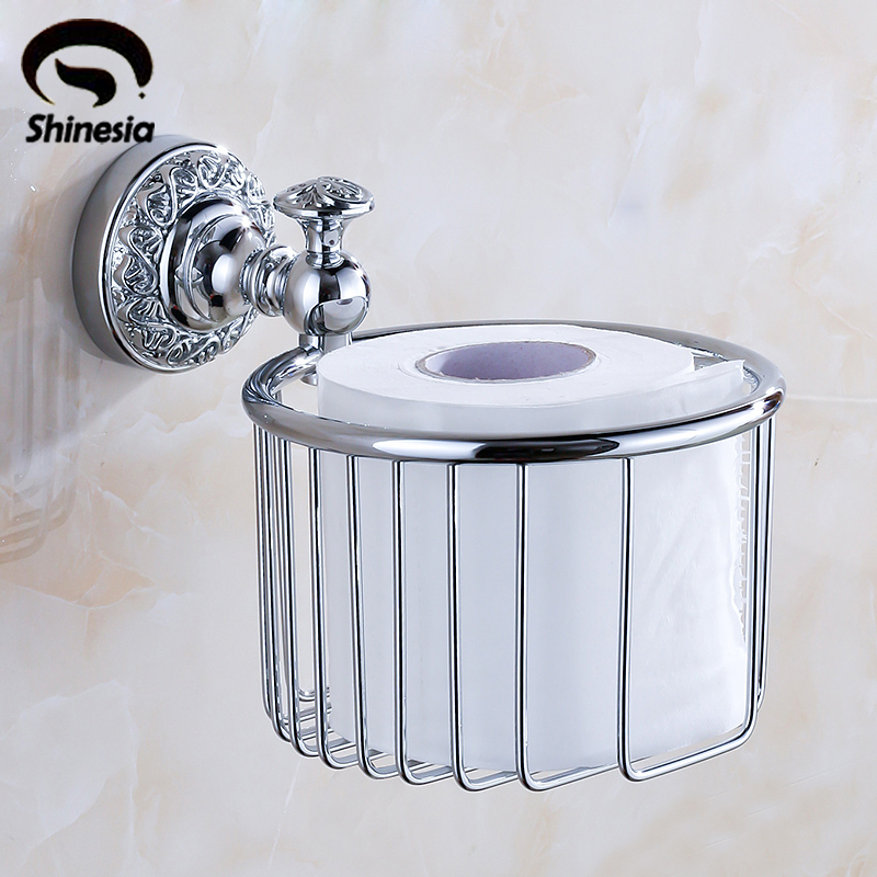 Chrome Polished Solid Brass Bathroom Toilet Paper Holder Roll Holder Bathroom Acessories Bathroom Holder Wall Mounted smesiteli promotions modern solid brass chrome bathroom paper holder accessories shelf wall mounted roll holder