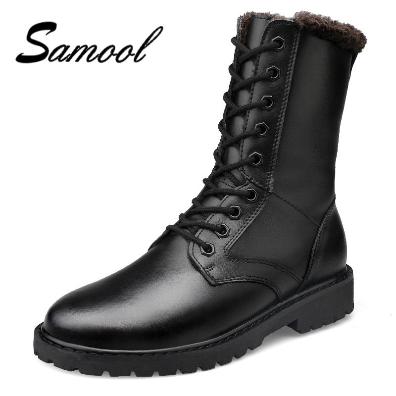 Genuine Leather Ankle Boots For Male Botas Plush Men Boots Super Warm Winter Shoes With Fur Fashion Plus Size 52 ux55