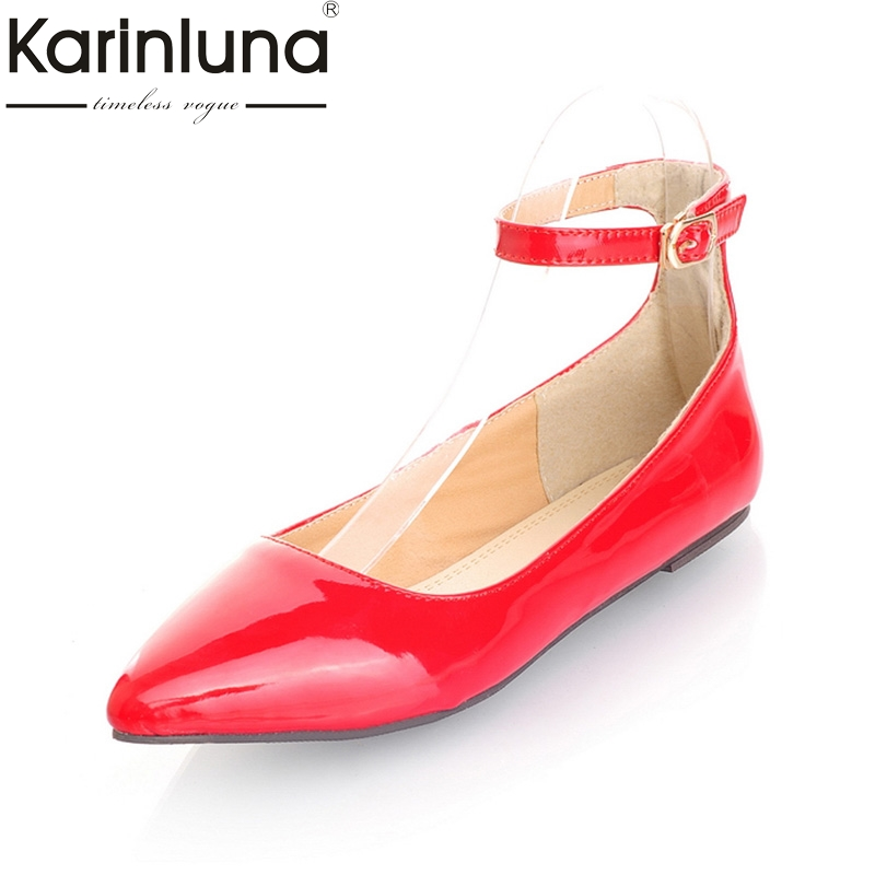 KarinLuna Big Size 30-49 Pointed Toe  flat heels shoes Women Sexy Ankle Strap Summer Party Shoes Woman flats pu pointed toe flats with eyelet strap